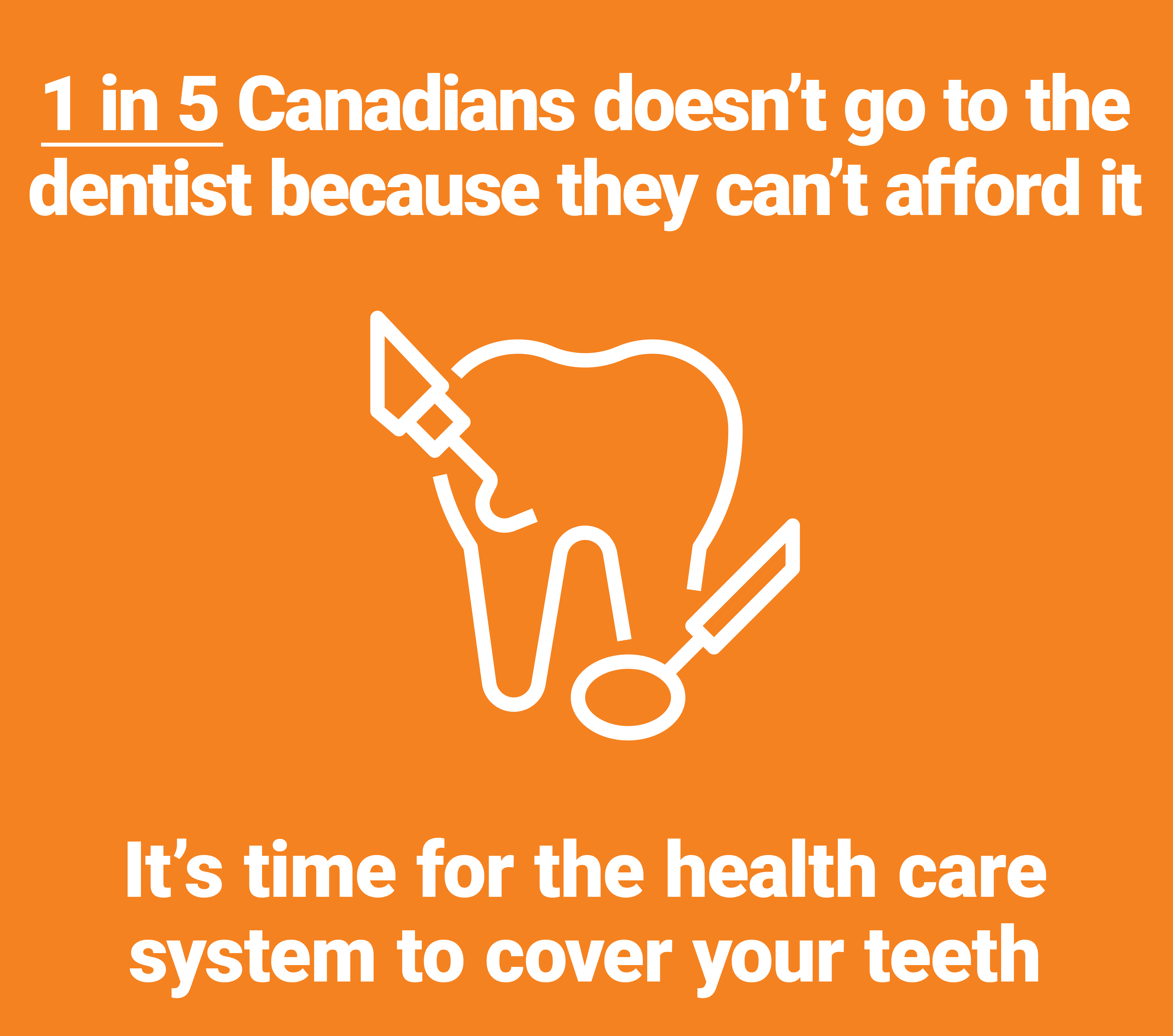 white tooth on orange back ground with words 1 in 5 Canadians cannot afford dental care